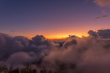 Top view of the beautiful hill and beautiful sea fog in sunset at Doi Luang Chiang Dao, Chiang Mai, Thailand