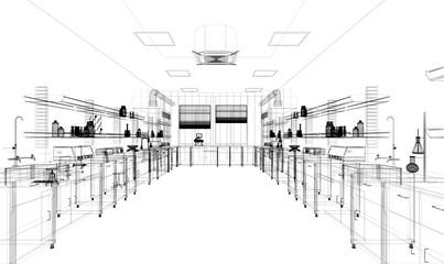 Interno architettonico, laboratorio di analisi biochimiche con attrezzature senza persone, illustrazione 3d