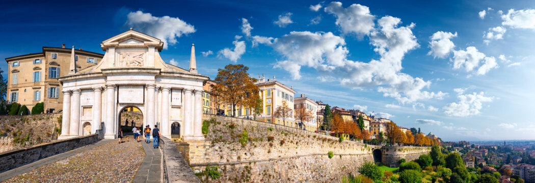 "Panoramic view of ""Porta San Giacomo"" on Bergamo Old City on a sunny day."