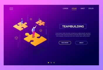 Teambuilding concept - modern isometric vector web banner