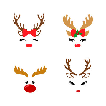 Set of a cute reindeer face with Christmas decoration. Vector illustration. Isolated on white background.