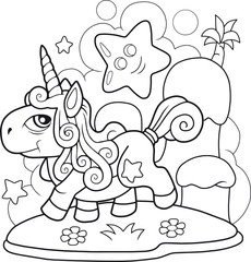 cartoon cute pony unicorn, coloring book, funny illustration