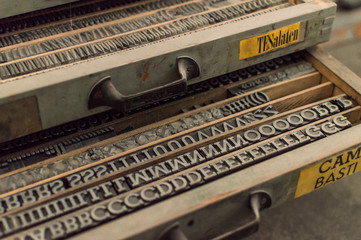 Old Typographic letters for industrial print, ancient typefaces