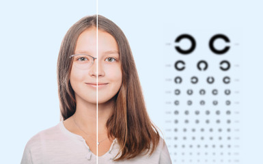 girl with eyeglasses and without eyeglasses Choose of contact lenses for vision correction. contact lenses or eyeglasses
