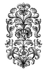 Flower vintage Baroque scroll Victorian frame border floral ornament leaf engraved retro pattern lily peony decorative design tattoo black and white filigree calligraphic vector
