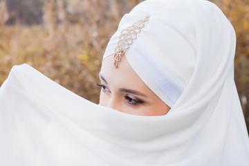 Islamic girl in a wedding dress