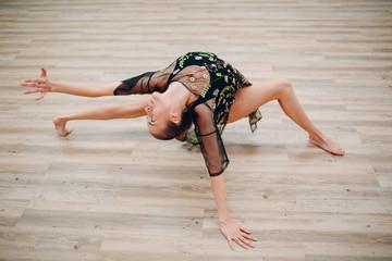 Young woman dancing in a dance studio