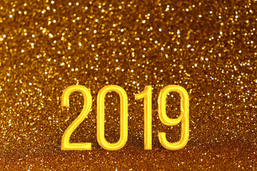 2019 Golden Christmas or New Year festive background