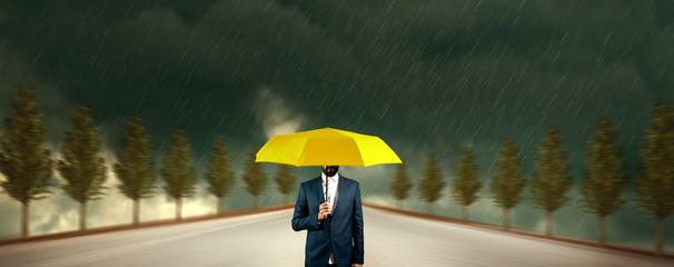 man hand yellow umbrella