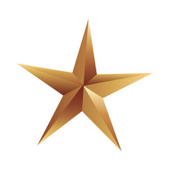 golden star decoration on white background