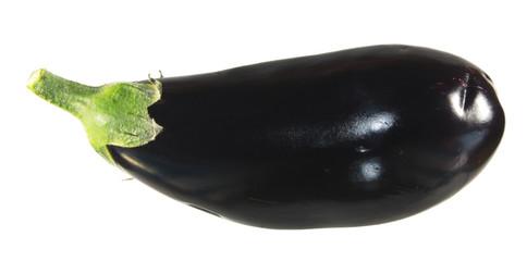Raw black eggplant isolated white background
