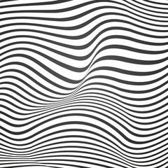 Black and white curved lines, surface waves, vector design background
