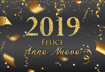 Italian Happy New Year greeting card - New Year 2019