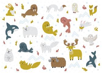 Set of arctic animals. Cute hand-drawn cartoon characters. Childish vector illustrations.