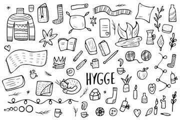 Hygge concept. Vector isolated symbols.
