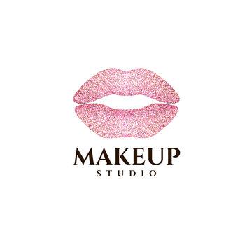 Vector logo design template. Makeup concept. Lips icon.