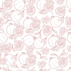 Pomegranate. Background, wallpaper, seamless. Plain. Sketch. Coloring.