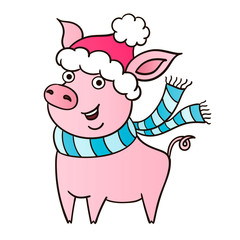 Cute pink piggy on white background. New year symbol