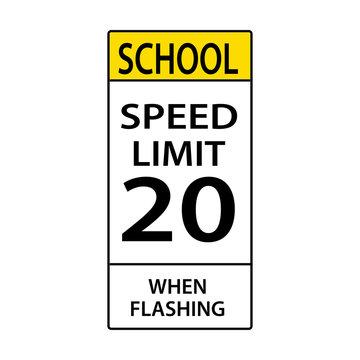 USA traffic road sign. school speed limit. vector illustration