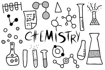 Chemistry doodle objects set. Vector illistration.