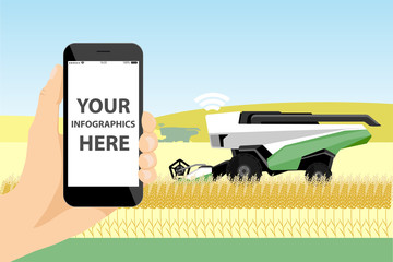 Etiqueta Engomada - A farmer with phone controls a autonomous harvester on a smart farm.  White screen, you can add your infographic here.