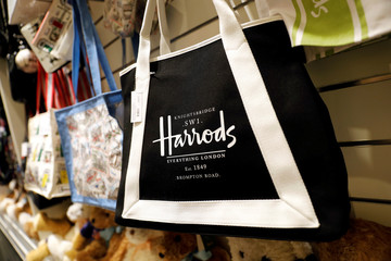 A bag for sale is seen at Harrods coffee shop in Bangkok