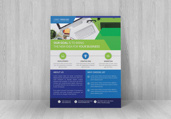 Corporate Flyer Layout With Blue and Green Elements
