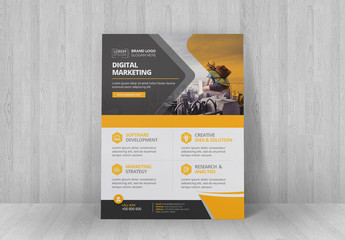Corporate Flyer Layout with Orange and Dark Gray Elements