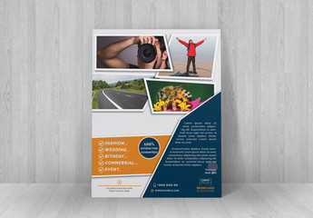 Flyer Layout with Angled Photo Placeholder Elements