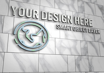 3D Design on Wall Mockup