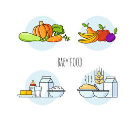 Baby food set vegetables, fruits, milk products, porridge. Organic food for babies. Healthy meal for children. Cartoon set with isolated fruits, vegetables, meat, milk. Kid s menu infographic