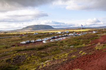 Landscape near Kerid crater in Iceland, evening time