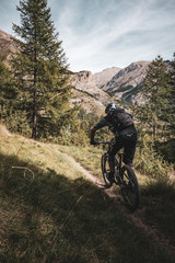 mountain biker riding fast towards the mountains in the alps