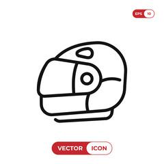 Racing helmet icon vector. Motorcycle helmet symbol isolated on white background.