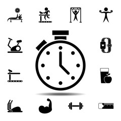 The stopwatch icon. Simple glyph vector element of gym icons set for UI and UX, website or mobile application