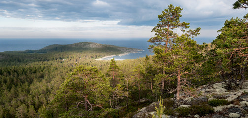 beautiful bay in mountain landscape with sea view, Sweden