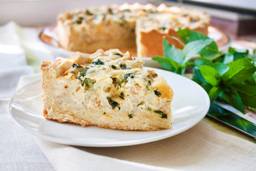 Cheese tart with cauliflower and mint