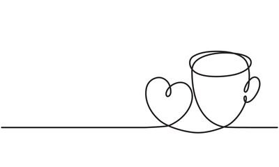 Сup and heart. Drawing by a continuous line.