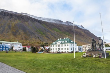 Icelandic houses in front of fjord in Isafjordur, Iceland