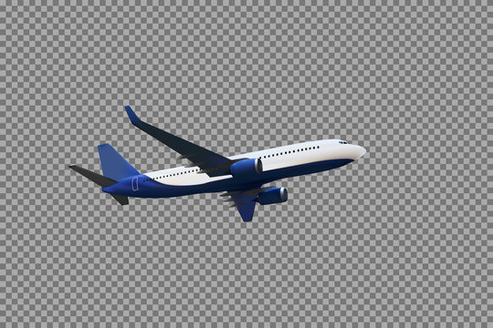 Realistic 3D model of an airplane flying in the air of white and blue coloring on a transparent background. Vector Illustration