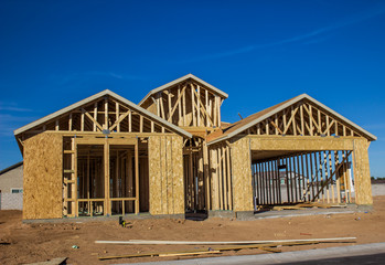 New Home Construction In Framing Stages