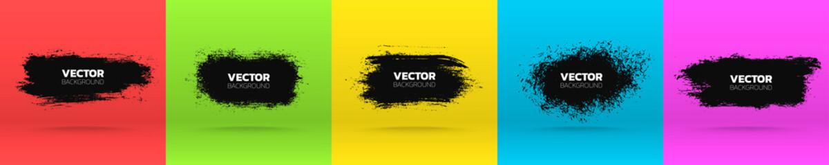 Grunge backgrounds set. Brush black paint ink stroke various banners. Vector illustration