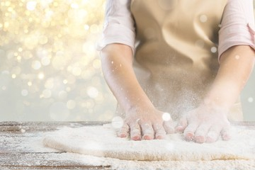 Pizza making bakery dough flour chef fresh
