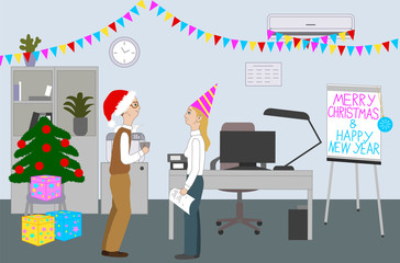 Colleagues celebrate Merry Christmas And Happy New Year in the office room with Christmas tree. People chatting, smiling and having fun. Cartoon Vector Illustration.
