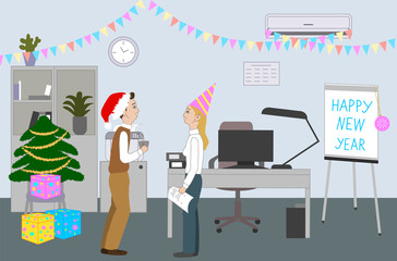Colleagues celebrate Happy New Year in the office room with pine tree. People chatting, smiling and having fun. Cartoon Vector Illustration.