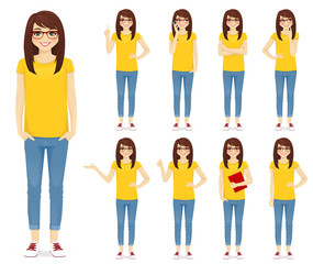 Teenage girl in glasses set with different gestures vector illustration isolated