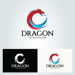 Dragon logo design template. Vector illustration