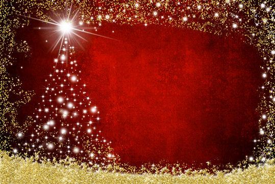Christmas postcard shiny tree
