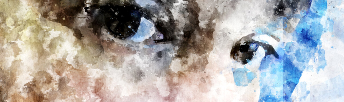digitally created water colour images of womans eyes