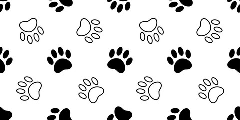 Dog Paw seamless pattern vector footprint cat bear kitten puppy scarf isolated cartoon tile background repeat wallpaper illustration